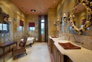 Eclectic Master Bathroom with Double sink, Inset cabinets, Clawfoot, Sandstone counters, Master bathroom, Flat panel cabinets