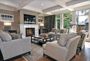 Contemporary Living Room with Pottery barn seabury sofa, Calacatta Marble Slab Fireplace Surround, stone fireplace