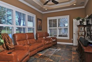 Eclectic Home Theater with Carpet, terracotta tile floors, Box ceiling, Crown molding