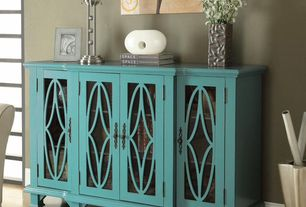Modern Dining Room with Hardwood floors, Coaster Accent Cabinets Large Teal Cabinet with 4 Glass Doors, High ceiling
