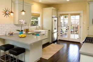 Traditional Kitchen with Paint 2, Shaker cabinet, gas range, built-in microwave, Apron sink - white, dishwasher, French doors