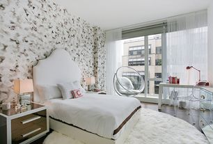 Contemporary Guest Bedroom with Casement, High ceiling, picture window, interior wallpaper, Hardwood floors