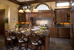 Traditional Kitchen with slate tile floors, Casement, One-wall, Raised panel, Shield back counter stool, Large Ceramic Tile