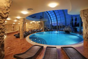 Contemporary Swimming Pool with exterior tile floors, French doors, Indoor pool, Skylight, exterior terracotta tile floors