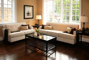 Traditional Living Room with Hardwood floors, Casement, Standard height