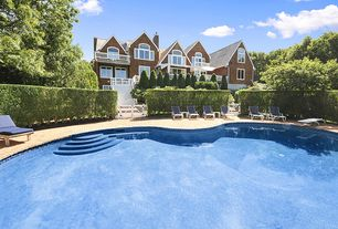 Traditional Swimming Pool with Pathway, Pool with hot tub, exterior stone floors, Fence, Gate, Arched window