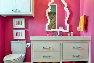 "Contemporary Powder Room with Cooper classics lawson wall mirror, Virtu caroline estate 48"" vanity, European Cabinets"