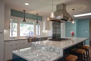 Contemporary Kitchen with Pendant light, L-shaped, Breakfast bar, Kitchen island, Complex granite counters, Standard height