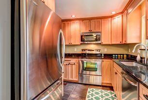 Craftsman Kitchen with MS International Peacock 16 in. x 16 in. Gauged Slate Floor and Wall Tile, can lights, Flush, U-shaped
