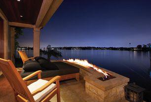 Contemporary Porch with Smart solar san rafael ii solar mission lantern, Three birds classic teak armchair, Fire pit