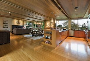 Contemporary Great Room with Home Decorators Collection-, Ultracraft destiny slab cabinetry, Built-in bookshelf, Exposed beam