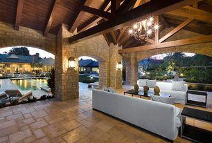 Craftsman Patio with Covered patio, Exposed beam, Indoor/outdoor living, exterior tile floors