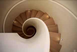 Modern Staircase with can lights, Spiral staircase, High ceiling, Hardwood floors