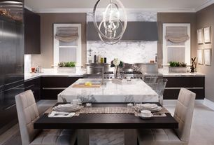 Contemporary Kitchen with Built In Panel Ready Refrigerator, Kitchen island, Tulip roman shade, Complex Marble, Flush