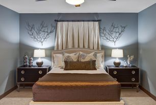 Contemporary Master Bedroom with Henredon night stand, Carpet, Ceiling fan, Henredon tyler bed