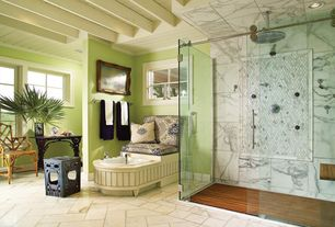Eclectic Master Bathroom with frameless showerdoor, Spa pedicure chair, MTI Round Front Gentle Ped Pedicure Sink, Rain shower