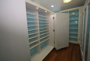 Contemporary Closet with Paint, Custom cabinetry, Glass panel, Glass panel door, Hardwood floors, can lights