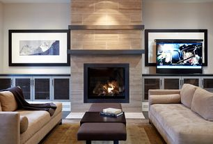 Traditional Living Room with Concrete tile , Hudson One Arm Sofa
