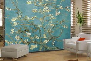 Asian Living Room with interior wallpaper, Dcor design leather armchair at wayfair.com, Laminate floors, Wood blinds