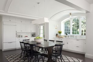 Contemporary Kitchen with Pendant light, Calacatta carrara, Arched window, Breakfast nook, Simple marble counters, L-shaped
