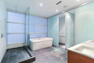 Contemporary Master Bathroom with Freestanding, Master bathroom, frameless showerdoor, Undermount sink, Rain shower