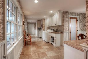 Traditional Laundry Room with Casement, Standard height, double-hung window, laundry sink, Drying Rack, Wainscotting, Mural