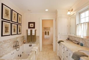 Traditional Master Bathroom with Pental - Saturnia Polished Travertine Sla b, Double sink, Inset cabinets, Crown molding