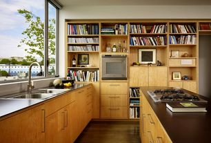 Modern Kitchen with Toronto style birch cabinetry, L-shaped, European Cabinets, Flush, Soapstone counters, Kitchen island