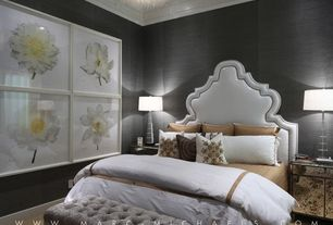 Contemporary Guest Bedroom with Steve leung- yuan wallpaper, Upholsered headboard, Gold mirrored nightstand, Carpet