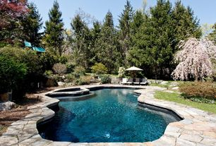 Rustic Swimming Pool with Inground pool, exterior stone floors, Pathway, Outdoor pool, Pool with hot tub