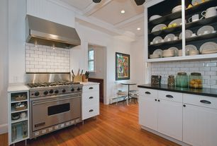Contemporary Kitchen with Soapstone counters, L-shaped, Breakfast nook, Inset cabinets, Simple marble counters, Crown molding