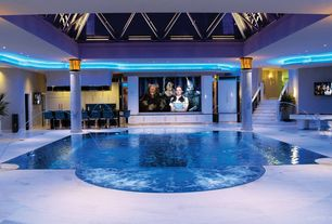 Traditional Swimming Pool with Skylight, Indoor pool, exterior stone floors, Pool with hot tub