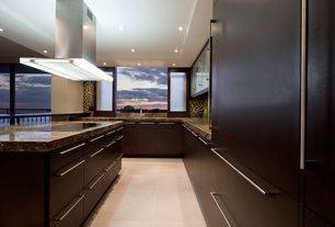 Contemporary Kitchen with U-shaped, Ann sacks linen square field tile, Flush, Futuro futuro luxor island range hood