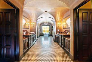 Mediterranean Master Bathroom with Freestanding, Wall sconce, Master bathroom, Simple Marble, Undermount sink, Flush, Carpet