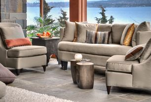 Rustic Great Room with Daltile slate collection california gold, Izmir hammered antique nickel side table