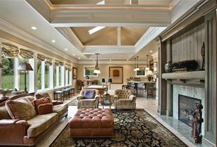 Traditional Game Room with Pendant light, Concrete tile , High ceiling, Cement fireplace, Crown molding