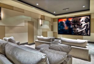 Contemporary Home Theater with interior wallpaper, Wall sconce, Carpet