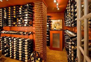 Traditional Wine Cellar with Casement, Concrete floors, flush light, Built-in bookshelf, Standard height, Columns