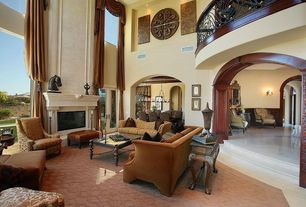 Traditional Living Room with High ceiling, Carpet, French doors