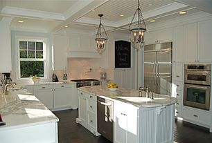 Traditional Kitchen with Pottery barn hundi lantern, Bamboo floors, Box ceiling, Complex granite counters, Custom hood