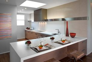Contemporary Kitchen with Metal frame wooden seat bar stools, Polished natural stone wall tiles, Stainless steel hood