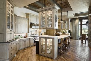 Country Kitchen with Exposed beam, Pendant light, Subway Tile, Inset cabinets, High ceiling, Paint 1, full backsplash
