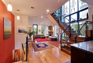 Contemporary Staircase with Stained glass window, High ceiling, Hardwood floors
