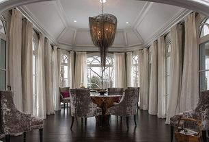 Contemporary Dining Room with Glass panel door, High ceiling, Crown molding, Chandelier, can lights, Arched window