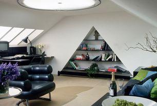 Contemporary Home Office with Standard height, Carpet, Skylight, flush light, Built-in bookshelf