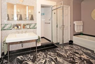 """Traditional Full Bathroom with Octagon & Dot 12"""" x 12"""" Tile, Console sink, Wall sconce, Mason console sink with brass stand"""