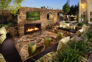 Rustic Patio with Fence, Custom Outdoor Room Design, Dimplex Electric Fire, Safavieh Chinese Dragon Stool, Raised beds