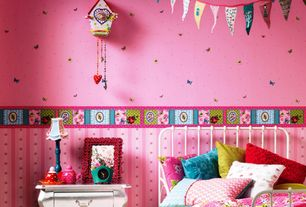 Traditional Kids Bedroom with interior wallpaper