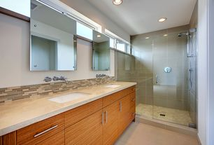 Contemporary 3/4 Bathroom with Handheld showerhead, European Cabinets, Double sink, Paint, can lights, partial backsplash