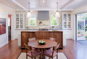 Contemporary Kitchen with Inset cabinets, Pendant light, East West Furniture Boston Round Dining Set, Undermount sink, Flush